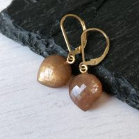 Silk Moonstone Earrings, June Birthstone, Brown Teardrop Earrings, Beige Small Acorn Earrings Gold Or Silver, Gemstone Jewelry Gift For Mom | Natural genuine Gemstone jewelry. Buy crystal jewelry, handmade handcrafted artisan jewelry for women.  Unique handmade gift ideas. #jewelry #beadedjewelry #beadedjewelry #gift #shopping #handmadejewelry #fashion #style #product #jewelry #affiliate #ad