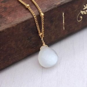 Shop Moonstone Pendants! Moonstone Necklace, White Moonstone Teardrop Pendant, June Birthstone, Ball Chain in Gold or Silver, Minimalist Layering Necklace Gift | Natural genuine Moonstone pendants. Buy crystal jewelry, handmade handcrafted artisan jewelry for women.  Unique handmade gift ideas. #jewelry #beadedpendants #beadedjewelry #gift #shopping #handmadejewelry #fashion #style #product #pendants #affiliate #ad