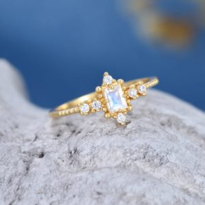 Moonstone engagement ring women emerald cut engagement ring 14k gold diamond vintage birthstone wedding Antique Bridal gift for her Promise | Natural genuine Gemstone rings, simple unique alternative gemstone engagement rings. #rings #jewelry #bridal #wedding #jewelryaccessories #engagementrings #weddingideas #affiliate #ad