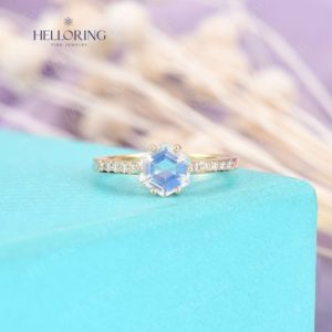 Shop Moonstone Rings! Hexagon Moonstone engagement ring, yellow gold ring, micro pave diamonds, Half eternity ring,Birthstone ring,Anniversary gift,Unique Jewelry | Natural genuine Moonstone rings, simple unique alternative gemstone engagement rings. #rings #jewelry #bridal #wedding #jewelryaccessories #engagementrings #weddingideas #affiliate #ad