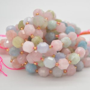 """Shop Morganite Faceted Beads! Grade A Natural Morganite Semi-precious Gemstone Double Tip FACETED Round Beads – 9mm x 10mm – 15.5"""" strand 