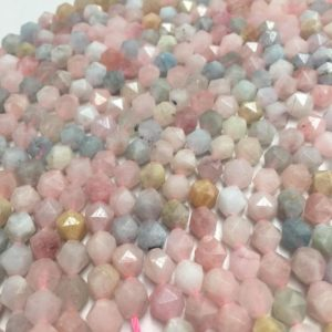 """Shop Morganite Faceted Beads! Morganite Pink Faceted Star Cut Beads 8mm 15.5"""" Strand 