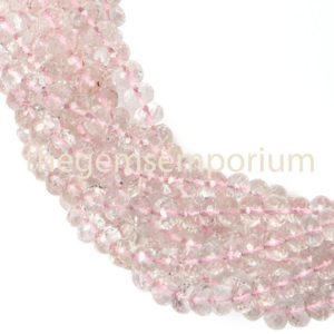 Shop Morganite Faceted Beads! Morganite Faceted Rondelle Beads, Morganite Rondelle Beads, Morganite faceted Beads, Morganite Beads, Morganite Cutting Beads | Natural genuine faceted Morganite beads for beading and jewelry making.  #jewelry #beads #beadedjewelry #diyjewelry #jewelrymaking #beadstore #beading #affiliate #ad