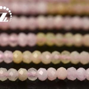 """Shop Morganite Faceted Beads! Morganite faceted rondelle space beads,Graduated Color Morganite,Rainbow gemstone,natural,diy beads,jewelry making,2x3mm,15"""" full strand 