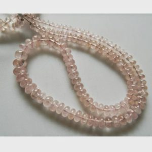Shop Morganite Necklaces! Morganite Bead, Morganite Jewelry, Morganite Stone, Morganite Necklace, 6mm To 9mm Each, 52 Pices Approx, 8 Inch Half Strand | Natural genuine Morganite necklaces. Buy crystal jewelry, handmade handcrafted artisan jewelry for women.  Unique handmade gift ideas. #jewelry #beadednecklaces #beadedjewelry #gift #shopping #handmadejewelry #fashion #style #product #necklaces #affiliate #ad