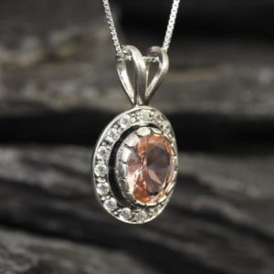 Shop Morganite Pendants! Morganite Pendant, Victorian Necklace, Created Morganite, Vintage Pendant, Pink Oval Pendant, Antique Necklace, Unique Pendant, Solid Silver | Natural genuine Morganite pendants. Buy crystal jewelry, handmade handcrafted artisan jewelry for women.  Unique handmade gift ideas. #jewelry #beadedpendants #beadedjewelry #gift #shopping #handmadejewelry #fashion #style #product #pendants #affiliate #ad