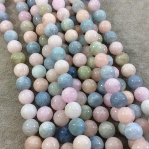 """Shop Morganite Round Beads! 10mm Glossy Finish Natural Multicolor Pastel Morganite Round / ball Shaped Beads With 1mm Holes – Sold By 15.5"""" Strands (approx. 39 Beads) 