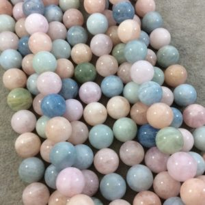 """Shop Morganite Round Beads! 12mm Glossy Finish Natural Multicolor Pastel Morganite Round / ball Shaped Beads With 1mm Holes – Sold By 15.75"""" Strands (approx. 34 Beads) 