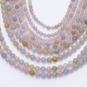 Shop Morganite Round Beads! Rich Color Morganite Stone Beads – Natural Blue Pink Gemstone Beads – Natural Round Gemstone Beads – Jewelry Making Beads -15inch | Natural genuine round Morganite beads for beading and jewelry making.  #jewelry #beads #beadedjewelry #diyjewelry #jewelrymaking #beadstore #beading #affiliate #ad