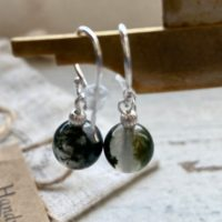 Moss Agate Drop Earrings , Boho Earrings For Her, Dainty Drop Silver Gemstone Bohemian Earrings | Natural genuine Gemstone jewelry. Buy crystal jewelry, handmade handcrafted artisan jewelry for women.  Unique handmade gift ideas. #jewelry #beadedjewelry #beadedjewelry #gift #shopping #handmadejewelry #fashion #style #product #jewelry #affiliate #ad