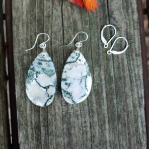 Shop Moss Agate Earrings! Silver Moss Agate Earrings. Unique Green Earrings | Natural genuine Moss Agate earrings. Buy crystal jewelry, handmade handcrafted artisan jewelry for women.  Unique handmade gift ideas. #jewelry #beadedearrings #beadedjewelry #gift #shopping #handmadejewelry #fashion #style #product #earrings #affiliate #ad