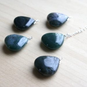 Shop Moss Agate Necklaces! Moss Agate Necklace Sterling Silver . Gemstone Drop Necklace . Polished Stone Necklace Gift for Mother in Law, Wife, Sister | Natural genuine Moss Agate necklaces. Buy crystal jewelry, handmade handcrafted artisan jewelry for women.  Unique handmade gift ideas. #jewelry #beadednecklaces #beadedjewelry #gift #shopping #handmadejewelry #fashion #style #product #necklaces #affiliate #ad