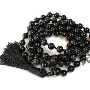Shop Obsidian Necklaces! EMPATH Mala 108 beads Black Obsidian Necklace Protection Gemstone Meditation Mala Psychic Protection Mala Necklace Yoga Jewelry Prayer beads | Natural genuine Obsidian necklaces. Buy crystal jewelry, handmade handcrafted artisan jewelry for women.  Unique handmade gift ideas. #jewelry #beadednecklaces #beadedjewelry #gift #shopping #handmadejewelry #fashion #style #product #necklaces #affiliate #ad