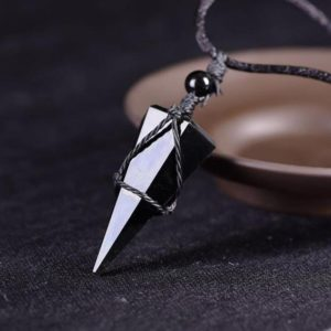 Obsidian Healing Crystal Necklace for Women-Black Obsidian Natural Stone Hexagon Point Wrap Necklace for Men-Energy Protection Yoga Necklace | Natural genuine Array necklaces. Buy handcrafted artisan men's jewelry, gifts for men.  Unique handmade mens fashion accessories. #jewelry #beadednecklaces #beadedjewelry #shopping #gift #handmadejewelry #necklaces #affiliate #ad