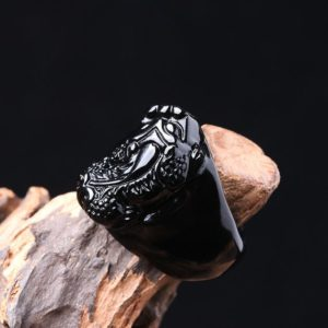 Shop Obsidian Rings! Black Obsidian Feng Shui Pi Xiu Band Ring, healing Crystal Natural Stone Ring For Men Women, good Luck Wealth Money Meditation Ring | Natural genuine Obsidian mens fashion rings, simple unique handcrafted gemstone men's rings, gifts for men. Anillos hombre. #rings #jewelry #crystaljewelry #gemstonejewelry #handmadejewelry #affiliate #ad