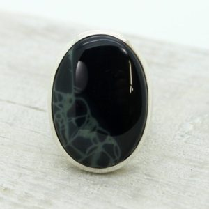 Shop Obsidian Rings! Black spiderweb Obsidian ring simple oval shape cab set on sterling silver 925 quality natural Obsidian stone | Natural genuine Obsidian rings, simple unique handcrafted gemstone rings. #rings #jewelry #shopping #gift #handmade #fashion #style #affiliate #ad