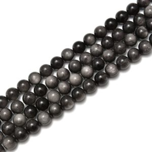 Shop Obsidian Beads! Silver Obsidian Smooth Round Beads Size 6mm 8mm 10mm 12mm 15.5'' Strand   Natural genuine beads Obsidian beads for beading and jewelry making.  #jewelry #beads #beadedjewelry #diyjewelry #jewelrymaking #beadstore #beading #affiliate #ad
