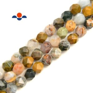 Shop Ocean Jasper Faceted Beads! 2.0mm Large Hole Ocean Jasper Faceted Star Cut Beads Size 8mm 8'' Strand | Natural genuine faceted Ocean Jasper beads for beading and jewelry making.  #jewelry #beads #beadedjewelry #diyjewelry #jewelrymaking #beadstore #beading #affiliate #ad