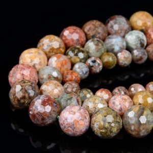 Shop Ocean Jasper Faceted Beads! Flower Ocean Jasper Gemstone Grade AAA Micro Faceted Round 3MM 6MM 8MM 10MM Loose Beads (D42) | Natural genuine faceted Ocean Jasper beads for beading and jewelry making.  #jewelry #beads #beadedjewelry #diyjewelry #jewelrymaking #beadstore #beading #affiliate #ad
