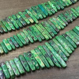 "Shop Ocean Jasper Beads! Polished Ocean Jasper Slice Beads Green Sea Sediment Jasper Slice Stick Bar Beads Necklace Pendant Beads Graduated 18-45mm 15.5""strand 