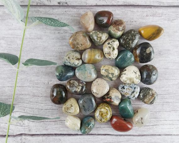 Ocean Jasper Tumbled Stones, Reiki Infused Wire Wrapping Self Care Healing Crystals