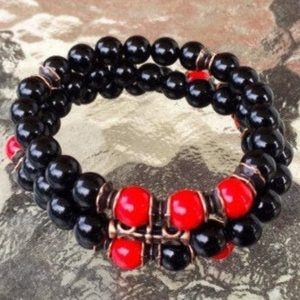 Shop Onyx Bracelets! red coral onyx healing crystal and stone jewelry love bracelet fertility bracelet best gifts for men gift for wife gifts for mom gift for da | Natural genuine Onyx bracelets. Buy handcrafted artisan men's jewelry, gifts for men.  Unique handmade mens fashion accessories. #jewelry #beadedbracelets #beadedjewelry #shopping #gift #handmadejewelry #bracelets #affiliate #ad