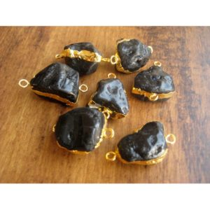 Shop Onyx Chip & Nugget Beads! Raw Black Onyx Connectors, Raw Gemstone Connectors, Natural Black Onyx Connectors, Black Onyx Rough, 5 Pieces, 22mm To 28mm Approx | Natural genuine chip Onyx beads for beading and jewelry making.  #jewelry #beads #beadedjewelry #diyjewelry #jewelrymaking #beadstore #beading #affiliate #ad