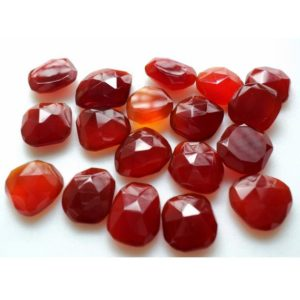 Shop Onyx Faceted Beads! 10 Pieces 12-15mm Red Chalcedony Red Onyx Faceted Rose cut Flat Back Loose Cabochons RS6 | Natural genuine faceted Onyx beads for beading and jewelry making.  #jewelry #beads #beadedjewelry #diyjewelry #jewelrymaking #beadstore #beading #affiliate #ad