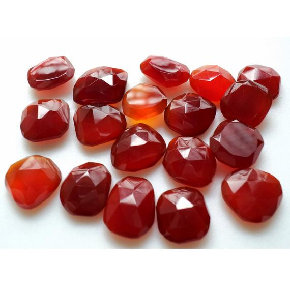 10 Pieces 12-15mm Red Chalcedony Red Onyx Faceted Rose Cut Flat Back Loose Cabochons Rs6