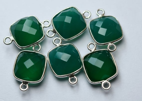 925 Sterling Silver,natural Green Onyx Faceted Cushion Shape Connector,2 Piece Of  17mm App.