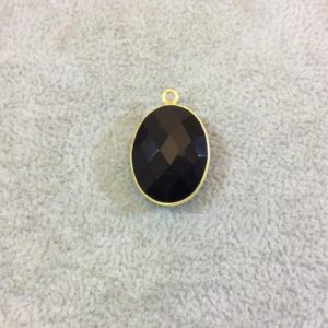 Shop Onyx Faceted Beads! Hydro Jet Black Onyx Bezel | Gold Plated Faceted (lab Created) Oblong Oval Shaped Pendant – Measuring 15mm X 20mm – Sold Individually | Natural genuine faceted Onyx beads for beading and jewelry making.  #jewelry #beads #beadedjewelry #diyjewelry #jewelrymaking #beadstore #beading #affiliate #ad