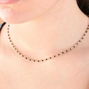 Shop Onyx Jewelry! Black Onyx Necklace, Onyx Beaded Choker, Rosary Style Short Necklace, Black Boho Necklace, dainty necklace, black necklace, minimalist gift | Natural genuine Onyx jewelry. Buy crystal jewelry, handmade handcrafted artisan jewelry for women.  Unique handmade gift ideas. #jewelry #beadedjewelry #beadedjewelry #gift #shopping #handmadejewelry #fashion #style #product #jewelry #affiliate #ad