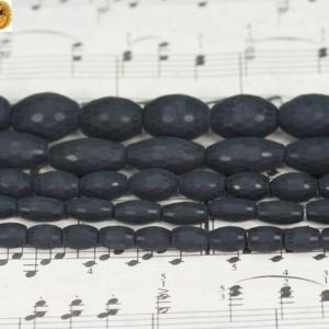 Shop Onyx Bead Shapes! Black Onyx,15 inch full strand natural Black Onyx matte faceted(128 faces) rice beads,Aagte beads,size for Choice | Natural genuine other-shape Onyx beads for beading and jewelry making.  #jewelry #beads #beadedjewelry #diyjewelry #jewelrymaking #beadstore #beading #affiliate #ad