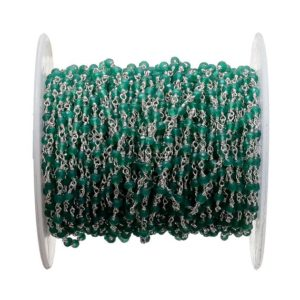 Shop Onyx Rondelle Beads! 10 Feet Green Onyx Wire Wrapped Rondelle Beads, Chain By The Foot, Rosary Style Beaded Chain, 925 Silver Plated, Rc45 | Natural genuine rondelle Onyx beads for beading and jewelry making.  #jewelry #beads #beadedjewelry #diyjewelry #jewelrymaking #beadstore #beading #affiliate #ad
