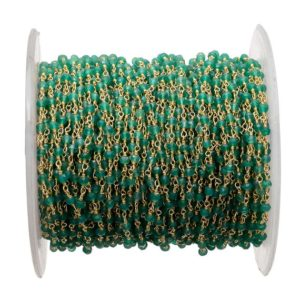 Shop Onyx Rondelle Beads! 10 Feet Green Onyx Rosary Style Beaded Chain, Wire Wrapped Rondelle Beads, Chain By The Foot, 24kt Gold Plated, Rc13 | Natural genuine rondelle Onyx beads for beading and jewelry making.  #jewelry #beads #beadedjewelry #diyjewelry #jewelrymaking #beadstore #beading #affiliate #ad