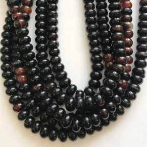 Shop Onyx Rondelle Beads! Onyx 12x7mm Rondelle Shaped Natural Gemstone Bead~ -15.5 Inch Strand–1 Strand / 3 Strands | Natural genuine rondelle Onyx beads for beading and jewelry making.  #jewelry #beads #beadedjewelry #diyjewelry #jewelrymaking #beadstore #beading #affiliate #ad