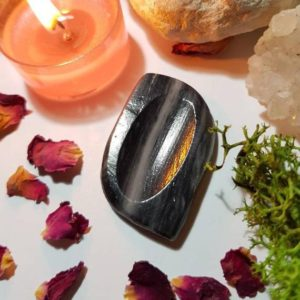 Shop Onyx Shapes! Mexican Black Onyx worry stone – Grounding | Natural genuine stones & crystals in various shapes & sizes. Buy raw cut, tumbled, or polished gemstones for making jewelry or crystal healing energy vibration raising reiki stones. #crystals #gemstones #crystalhealing #crystalsandgemstones #energyhealing #affiliate #ad