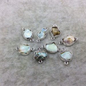 Shop Opal Chip & Nugget Beads! Ethiopian Opal Bezel | Silver Finish Medium Raw Nugget Genuine Wavy Bezel Connector ~ 12mm X 15mm Long – Sold Individually, | Natural genuine chip Opal beads for beading and jewelry making.  #jewelry #beads #beadedjewelry #diyjewelry #jewelrymaking #beadstore #beading #affiliate #ad