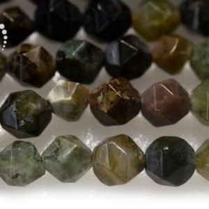 """Shop Opal Chip & Nugget Beads! Ocean Green opal Faceted Nugget Star Cut Beads, Diamond cut bead, Nugget beads, natural, gemstone, 8mm, 15"""" full strand 