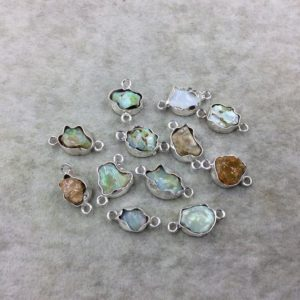 Shop Opal Chip & Nugget Beads! Silver Finish Small Raw Nugget Genuine Ethiopian Opal Wavy Bezel Connector  ~ 10-14mm Long – Sold Individually, Selected At Randomly | Natural genuine chip Opal beads for beading and jewelry making.  #jewelry #beads #beadedjewelry #diyjewelry #jewelrymaking #beadstore #beading #affiliate #ad