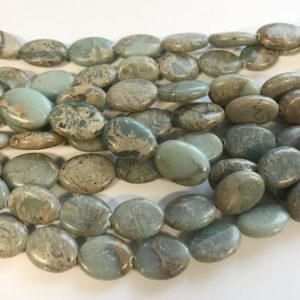 Shop Opal Bead Shapes! African Blue Opal 10x8x4mm18x13x6mm Flat Oval Gemstone Beads – 15.5 Inch Strand | Natural genuine other-shape Opal beads for beading and jewelry making.  #jewelry #beads #beadedjewelry #diyjewelry #jewelrymaking #beadstore #beading #affiliate #ad