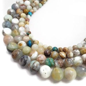 """Shop Opal Beads! Natural Multi-Color Opal Smooth Round Beads Size 6mm 8mm 10mm 12mm 15.5"""" Strand 
