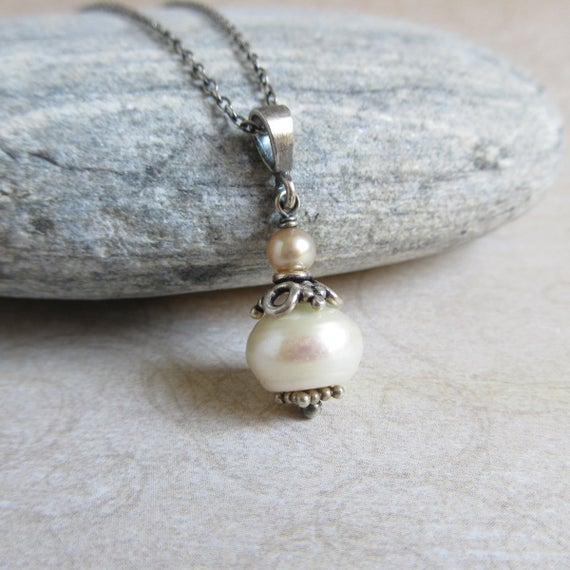 Antique Pearl Necklace, White Freshwater Pearl Pendant, Oxidized Sterling Silver, June Birthstone, Rustic Wedding Party Jewelry