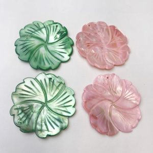 Shop Pearl Pendants! Hand Carved MOP Shell Pearl Flower Pendant Pink/Green 40mm 50mm Sold Per Piece | Natural genuine Pearl pendants. Buy crystal jewelry, handmade handcrafted artisan jewelry for women.  Unique handmade gift ideas. #jewelry #beadedpendants #beadedjewelry #gift #shopping #handmadejewelry #fashion #style #product #pendants #affiliate #ad