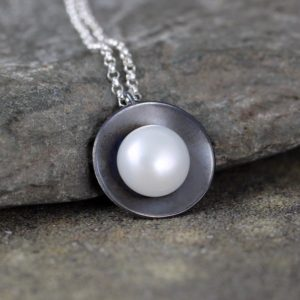 FALL SAVINGS Pearl Pendant – Sterling Silver – White Fresh Water Pearl – Organic Gemstone Necklace – Rustic Modern Jewellery – June Birthsto | Natural genuine Pearl pendants. Buy crystal jewelry, handmade handcrafted artisan jewelry for women.  Unique handmade gift ideas. #jewelry #beadedpendants #beadedjewelry #gift #shopping #handmadejewelry #fashion #style #product #pendants #affiliate #ad