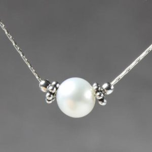 Shop Pearl Pendants! White Pearl Sterling Silver Necklace, genuine natural freshwater gemstone dainty minimalist pendant choker June birthstone gift for her 6085 | Natural genuine Pearl pendants. Buy crystal jewelry, handmade handcrafted artisan jewelry for women.  Unique handmade gift ideas. #jewelry #beadedpendants #beadedjewelry #gift #shopping #handmadejewelry #fashion #style #product #pendants #affiliate #ad
