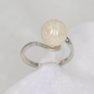 Shop Pearl Rings! Galatea Pearl Ring, Carved White Freshwater Pearl 9 to 9.5 MM Ring, Hand Carved, 925 Sterling Silver Mount | Natural genuine Pearl rings, simple unique handcrafted gemstone rings. #rings #jewelry #shopping #gift #handmade #fashion #style #affiliate #ad