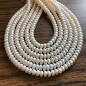 Shop Pearl Rondelle Beads! fresh water pearl 8x5mm rondelle  gemstone beads–15 Inch  1 strand/3 strand | Natural genuine rondelle Pearl beads for beading and jewelry making.  #jewelry #beads #beadedjewelry #diyjewelry #jewelrymaking #beadstore #beading #affiliate #ad