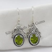 Natural Peridot Earrings, Handmade Silver Earrings, Oval Peridot Designer Earrings, 925 Sterling Silver, Gift For Her, Dangle Drop Earrings | Natural genuine Gemstone jewelry. Buy crystal jewelry, handmade handcrafted artisan jewelry for women.  Unique handmade gift ideas. #jewelry #beadedjewelry #beadedjewelry #gift #shopping #handmadejewelry #fashion #style #product #jewelry #affiliate #ad