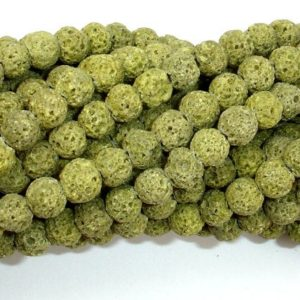 Shop Peridot Bead Shapes! Peridot color Lava Beads, 6mm(6.5mm), 15.5 Inch, Full strand, Approx 65 beads, Hole 1 mm (300054034) | Natural genuine other-shape Peridot beads for beading and jewelry making.  #jewelry #beads #beadedjewelry #diyjewelry #jewelrymaking #beadstore #beading #affiliate #ad